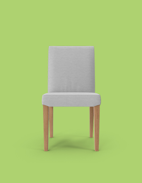 Grey chair on a green background with wooden legs, facing head on