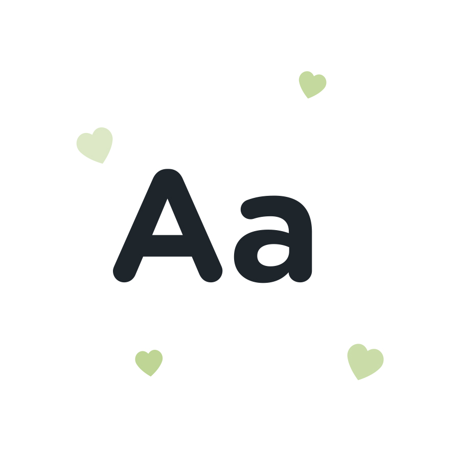 Capital and lowercase 'A' with green hearts; highlighting our Content and Copywriting services