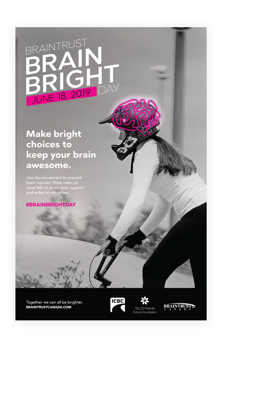 Brain Bright Day Poster, with girl on bike and brain overlay; highlighting marketing strategy