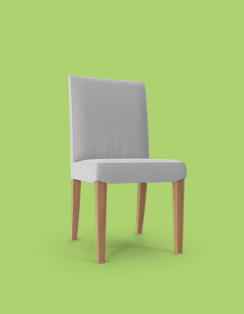 Grey chair on a green background with wooden legs, facing slightly right