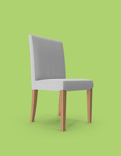 Grey chair on a green background with wooden legs, facing right
