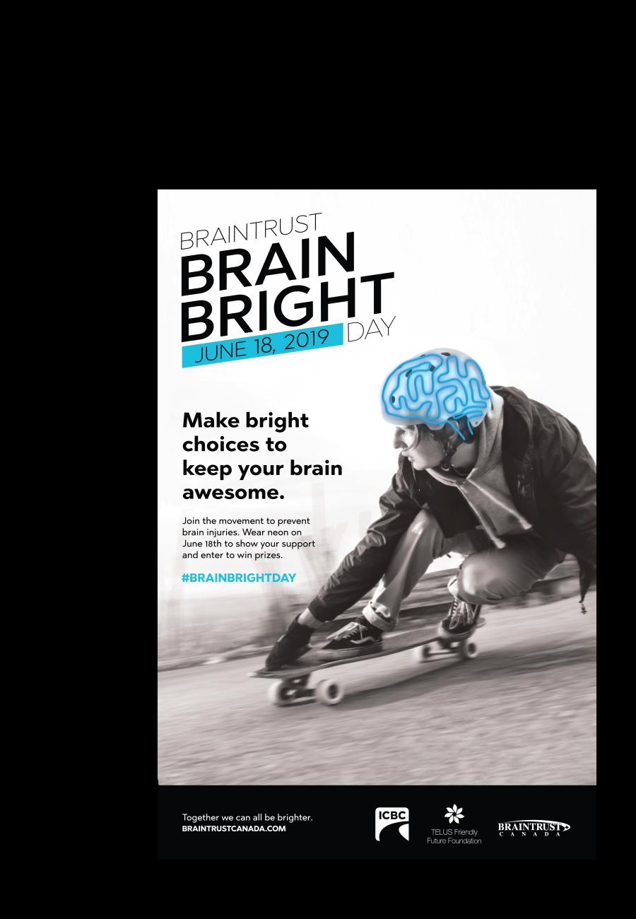 Braintrust Brain Bright Day poster with brain overlay on helmeted skateboard rider