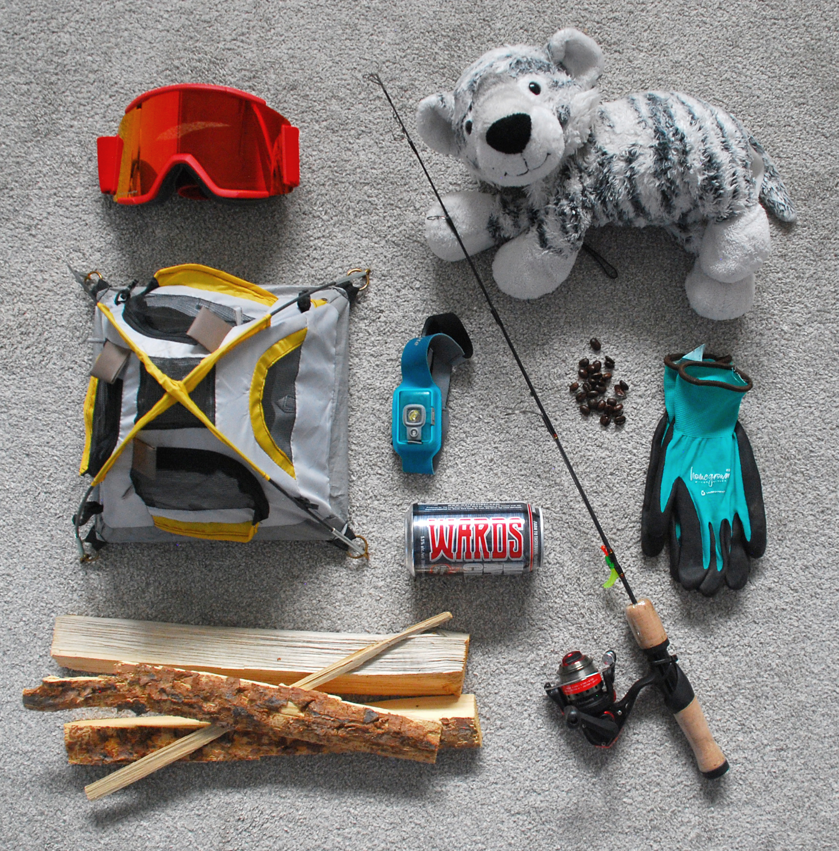 Petr's flat lay of items representing his personality.