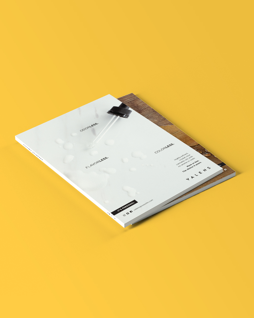 Two editorial design magazine mockups for Valens on a yellow background