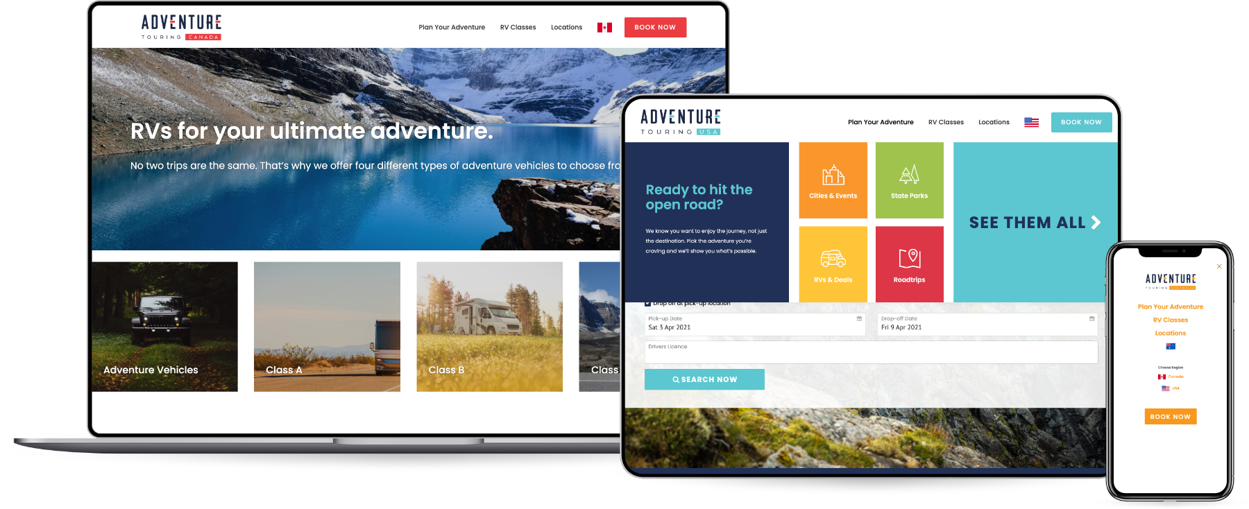 Adventure Touring Site on Multiple Devices