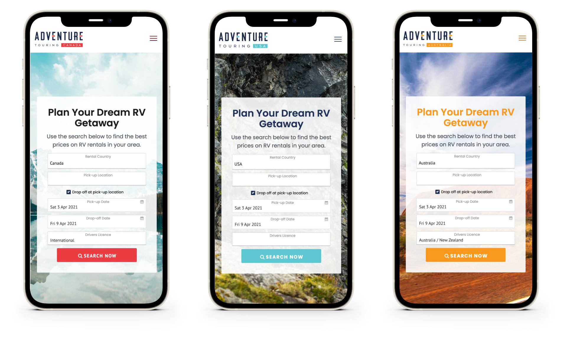 All 3 Adventure Touring Country Sites on iPhones