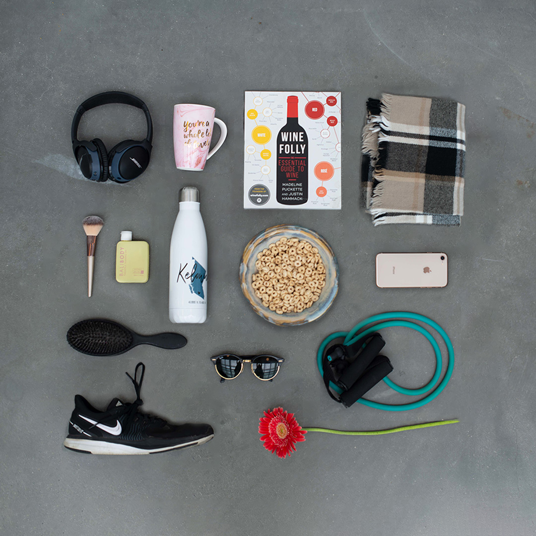 Brittany's flat lay of items representing her personality.