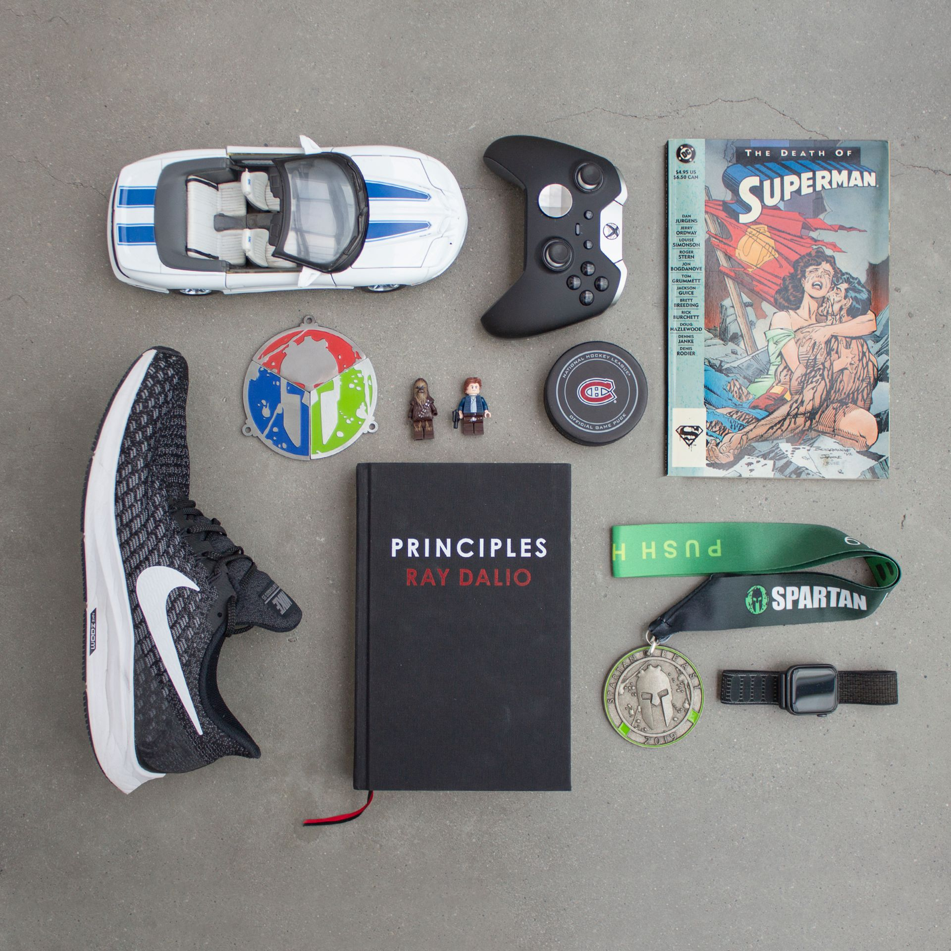 Chris Stephens' flat lay of items representing his personality.