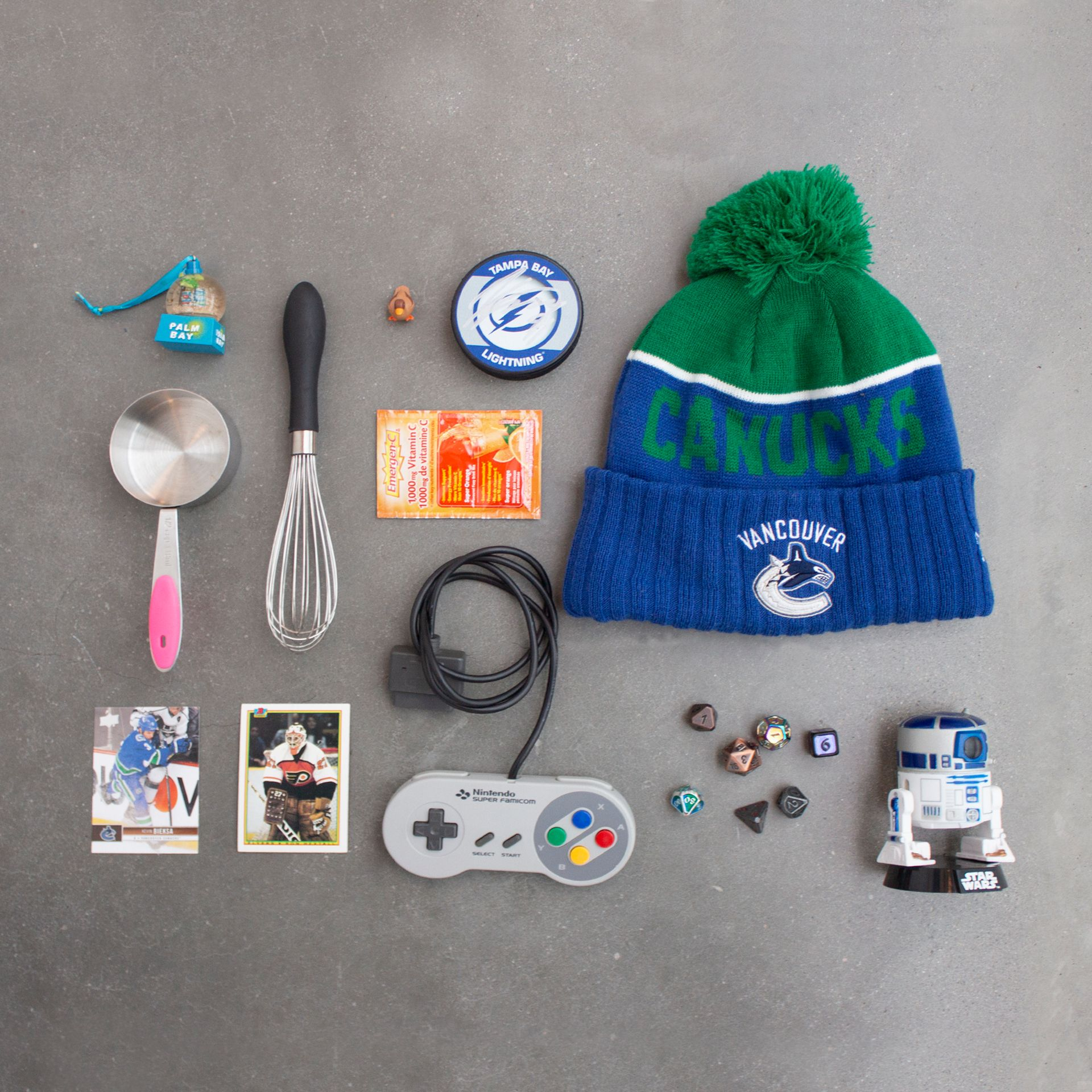 Colin's flat lay of items representing his personality.