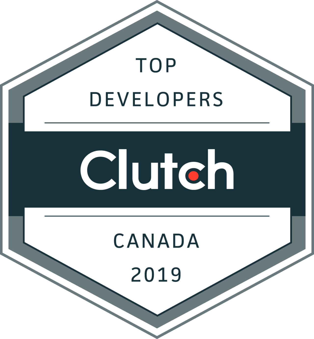 Top Developers Canada 2019 Clutch Leader Award. Logo on a Transparent Background