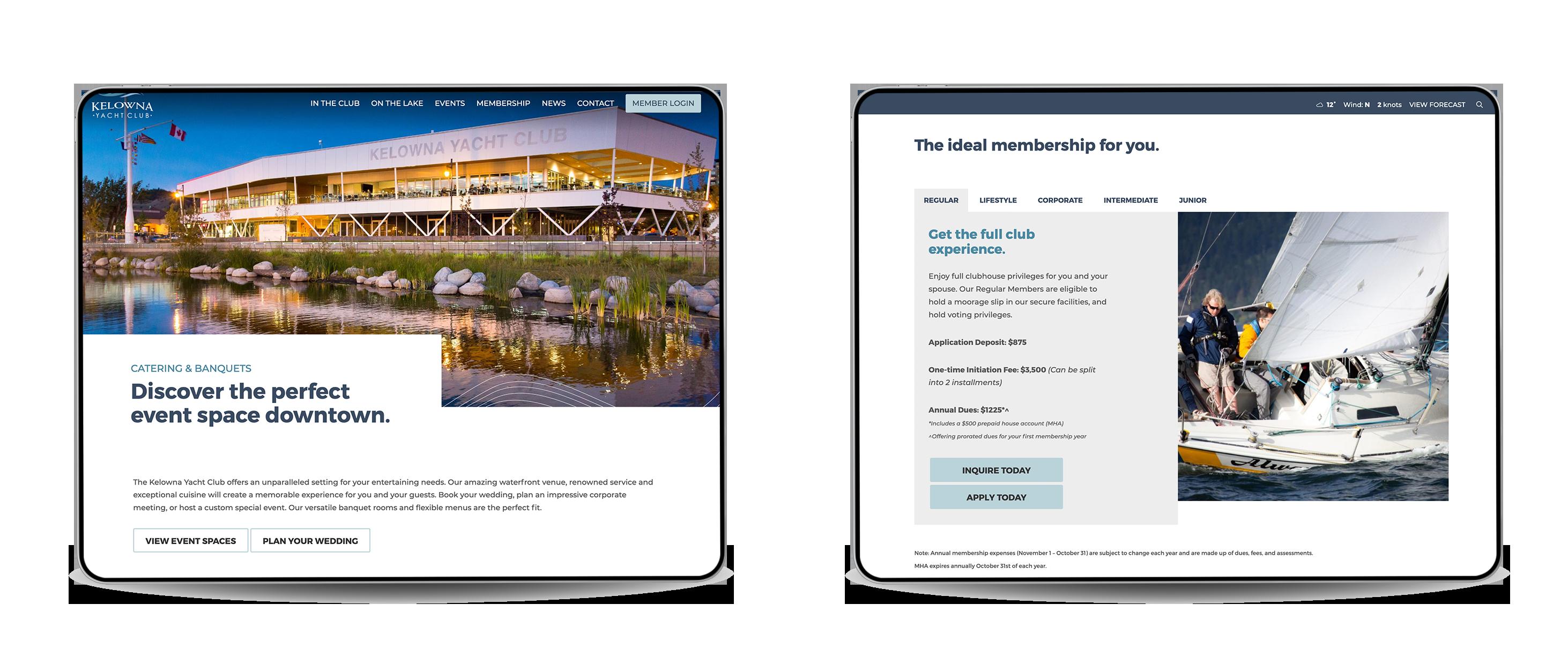 Kelowna Yacht Club Website Mockups on iPads