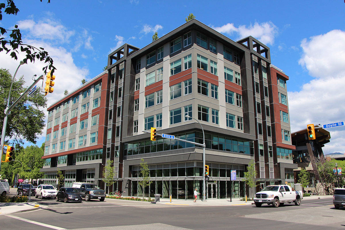 Kelowna Innovation Center office building street view, Home of Twirling Umbrellas