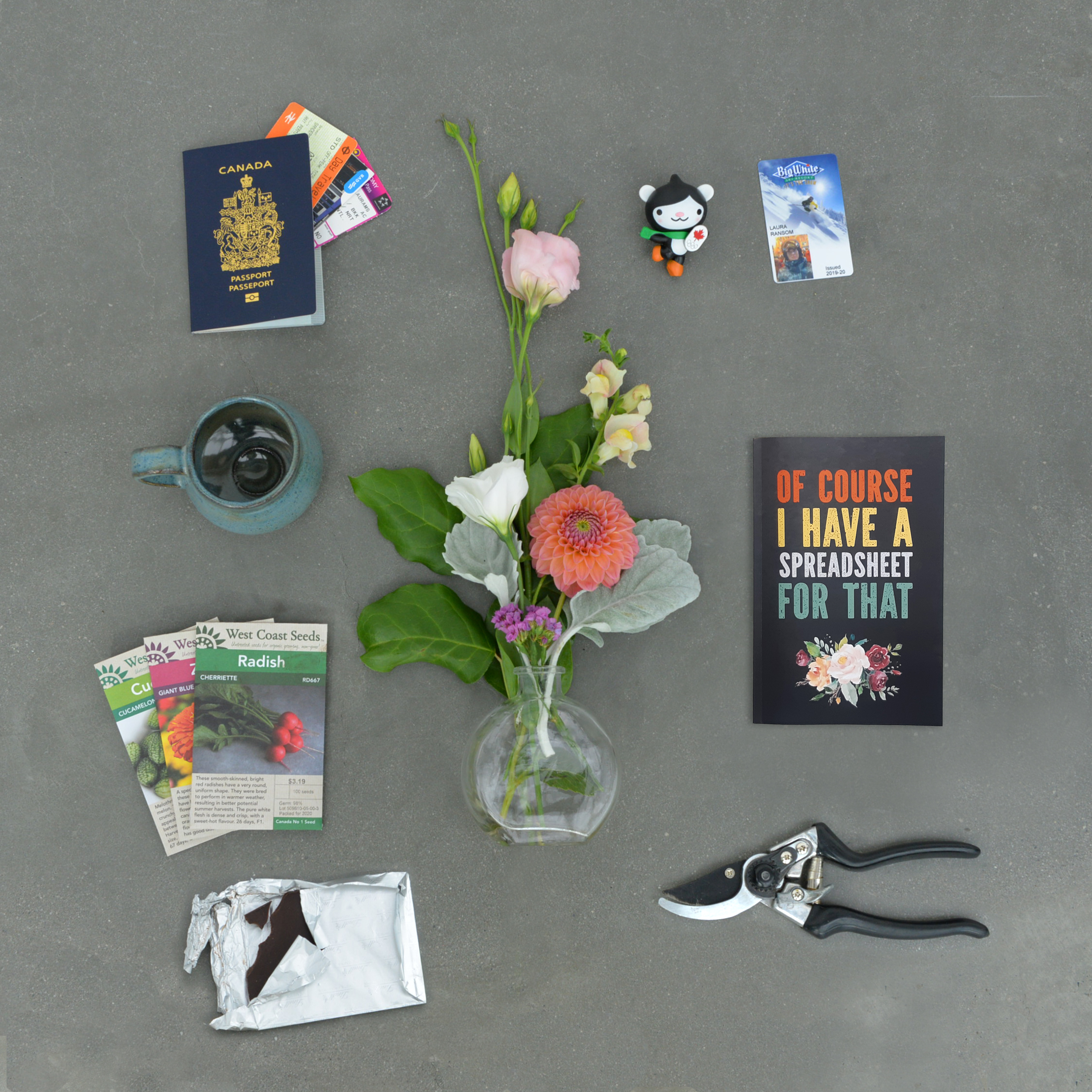 Laura Flatlay of personality items