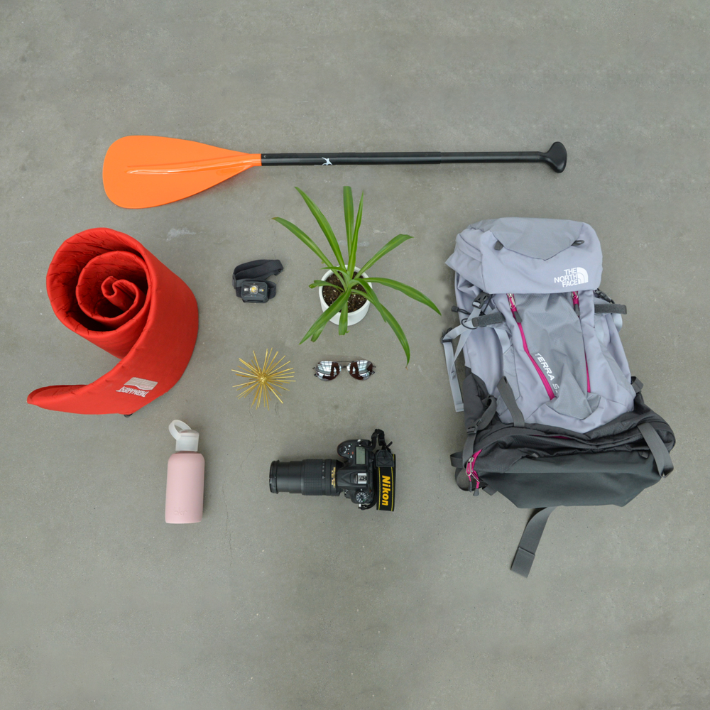 Lyndsay's flay lay with items representing her personality.