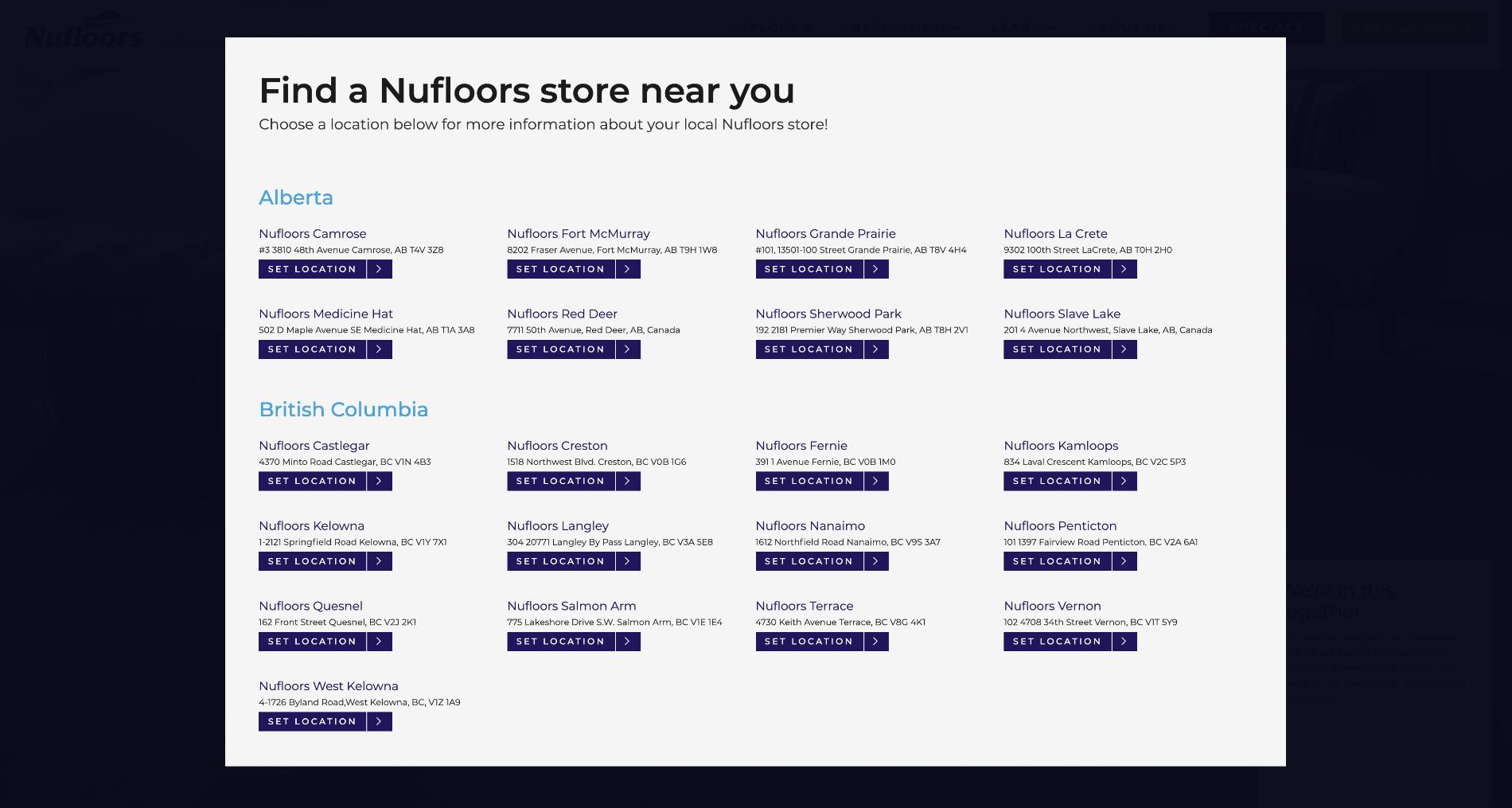 Nufloors Locations Popup