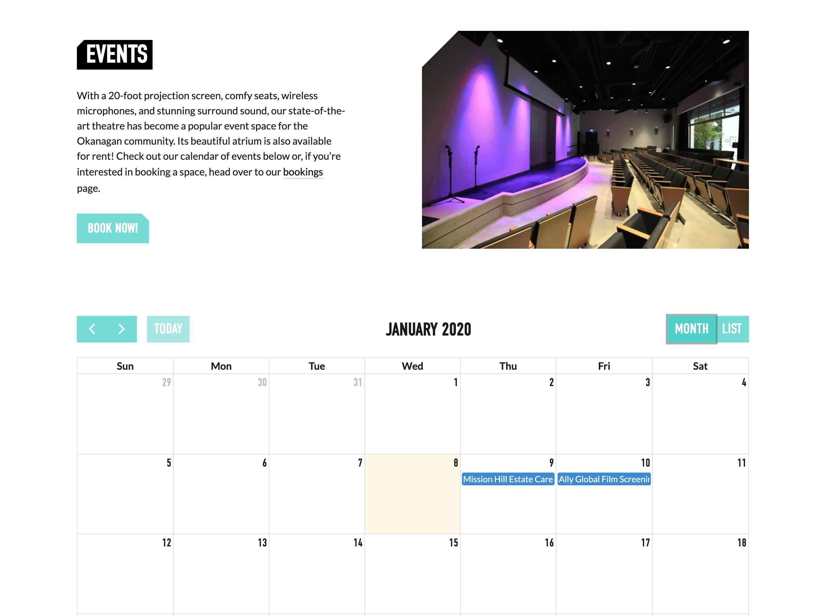 Innovation Centre Website Events Calendar Mockup