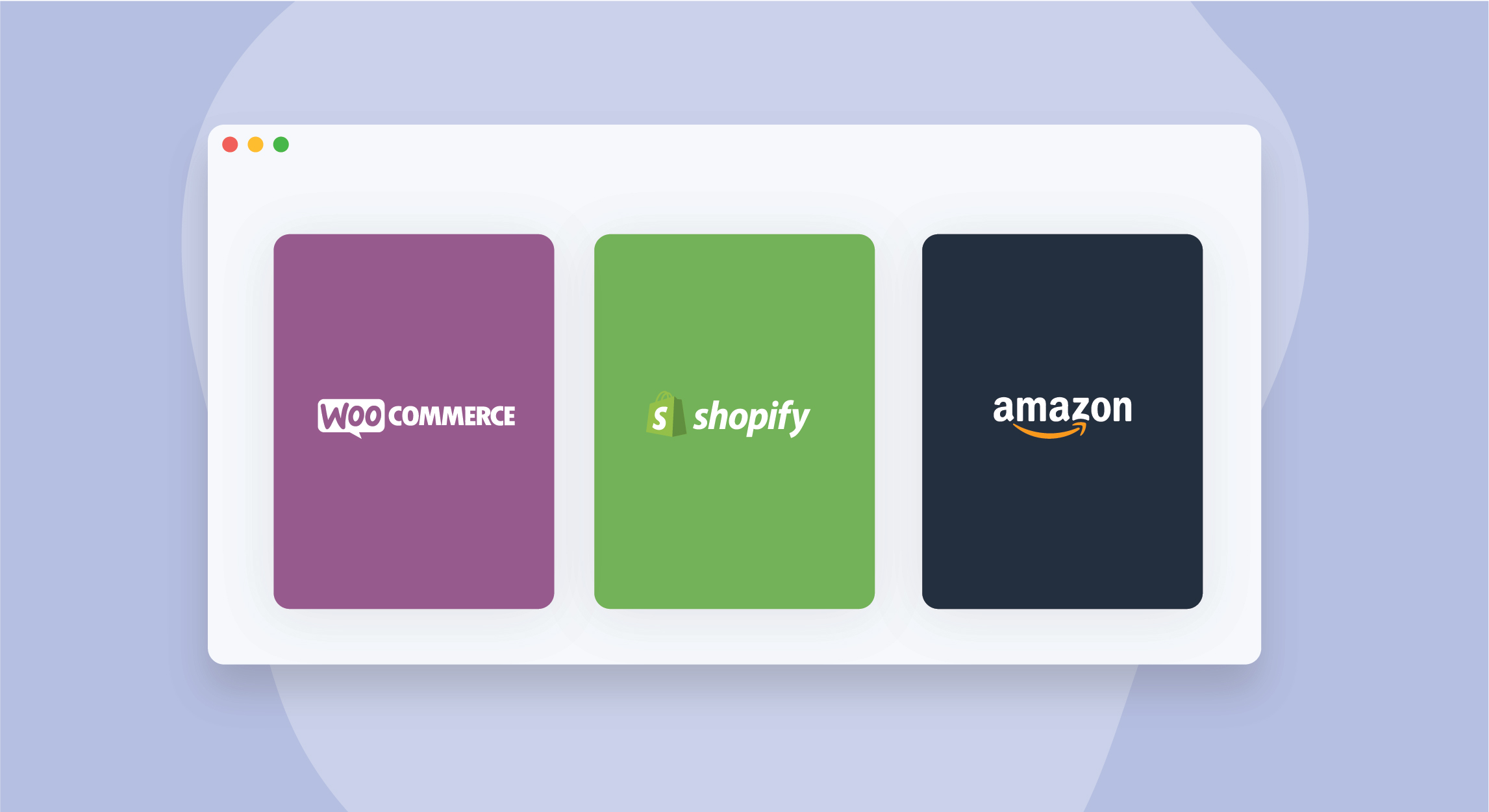 Ecommerce platform illustrations with logos for woocommerce, shopify, and amazon