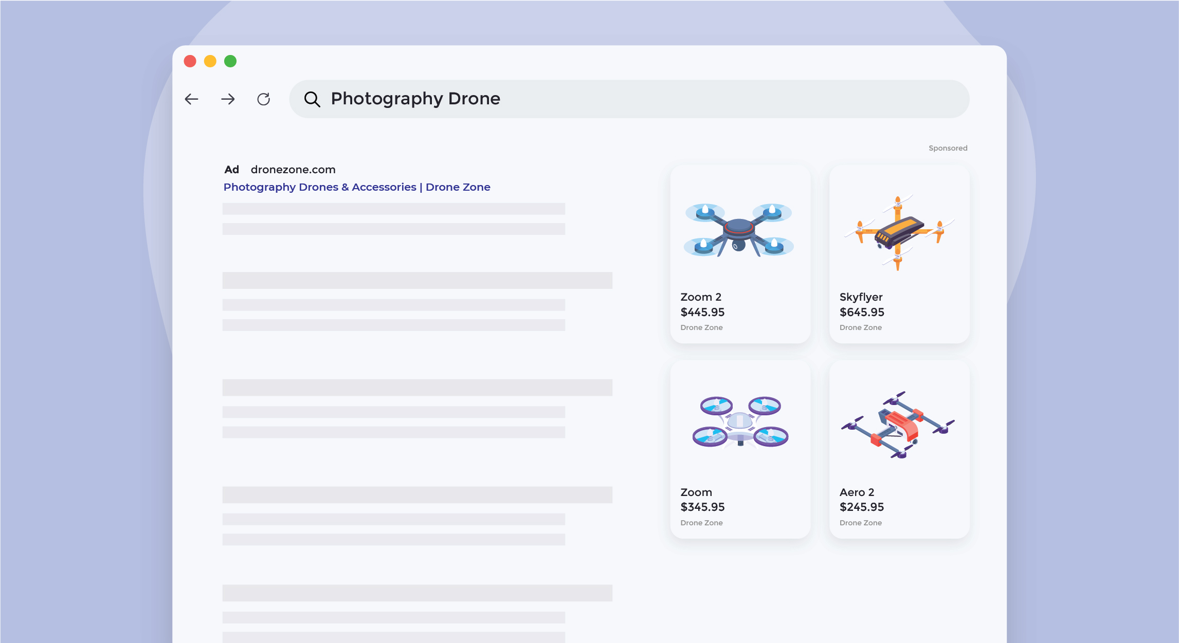 Illustration of a search results page for photography drones, illustrating the power of optimized ecommerce advertising