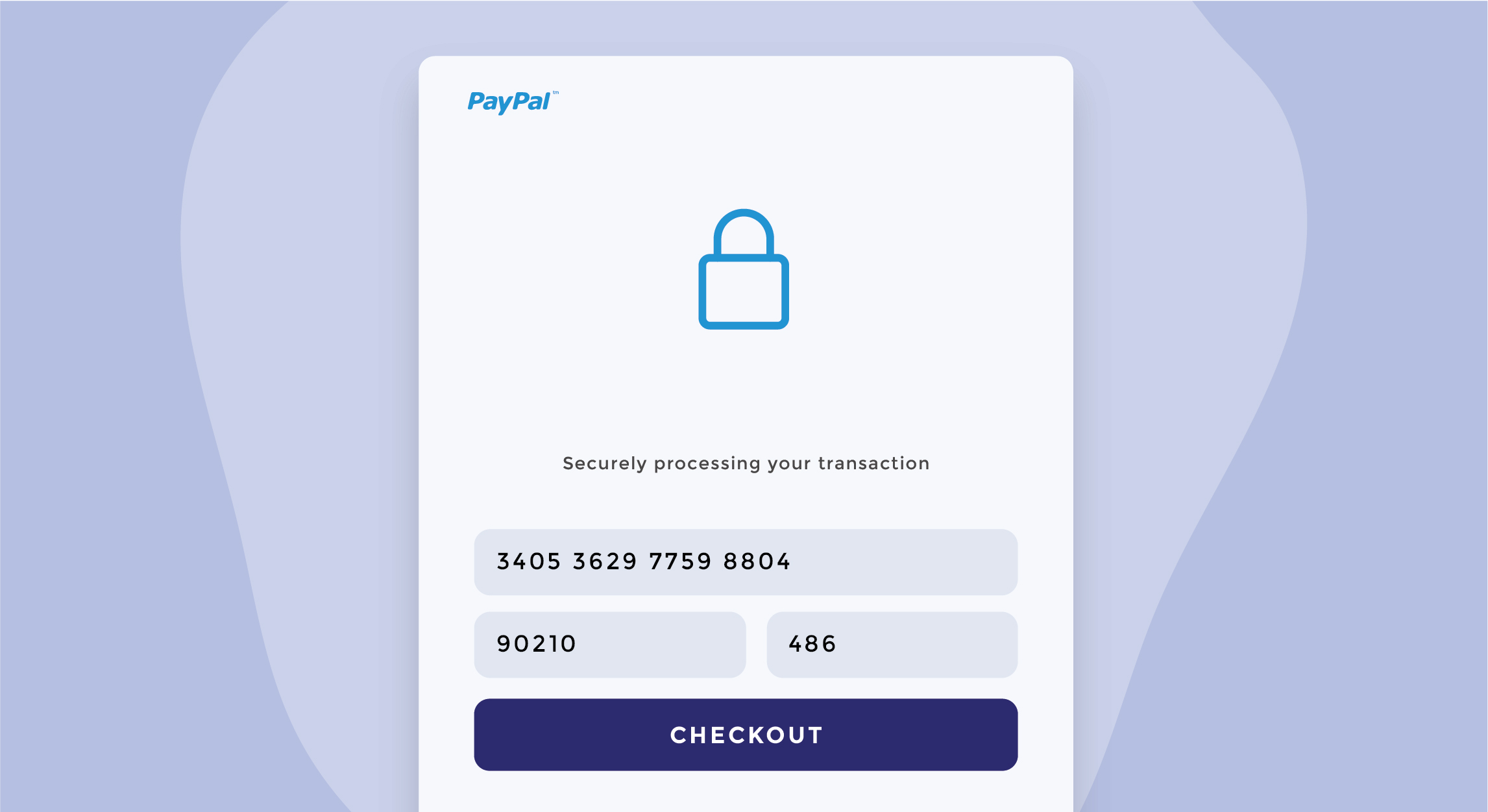 Illustration of PayPal payment section for securely processing a transaction