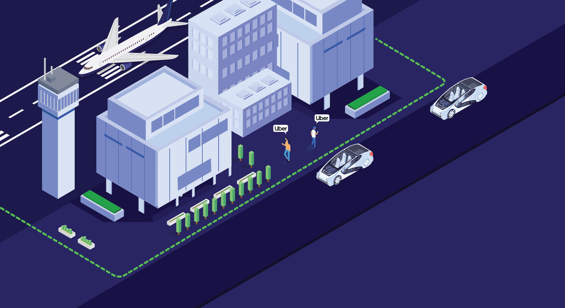 illustration of an airport with a radius drawn around it and uber cars using geofencing to target travellers