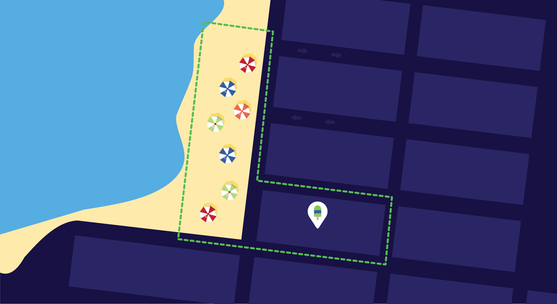 An illustration of an ice cream shop that is geofencing in that location only and the beach surrounding