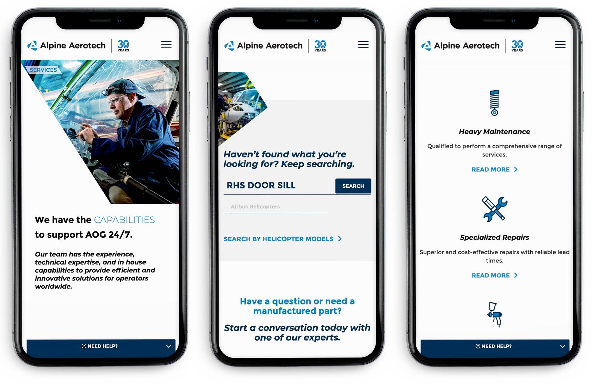 Alpine Aerotech Website Mockup on iPhones