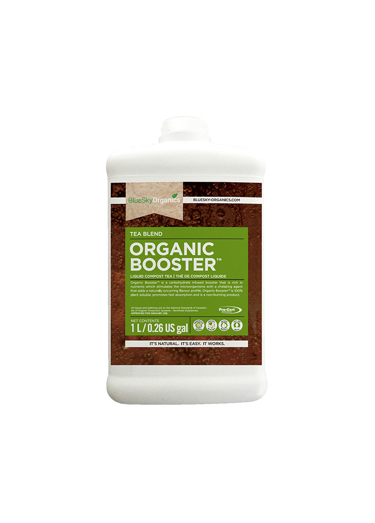BlueSky Organics Organic Booster Container with red soil and green label