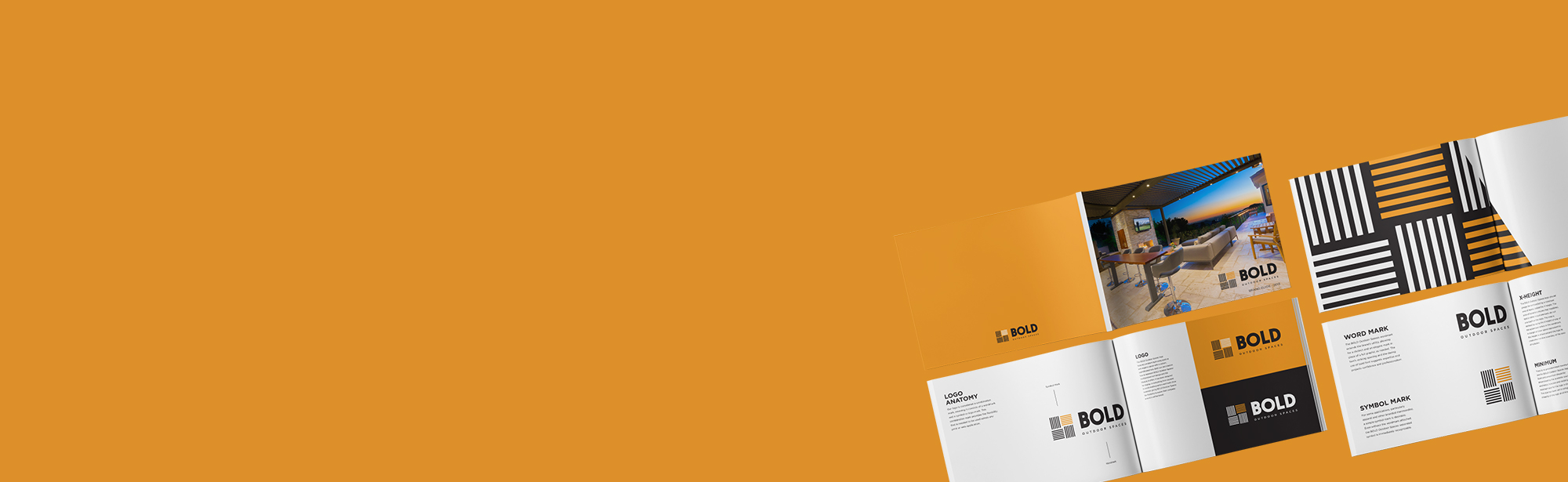 Orange header with four spreads of the Reinbold brand guide; highlighting brand identity