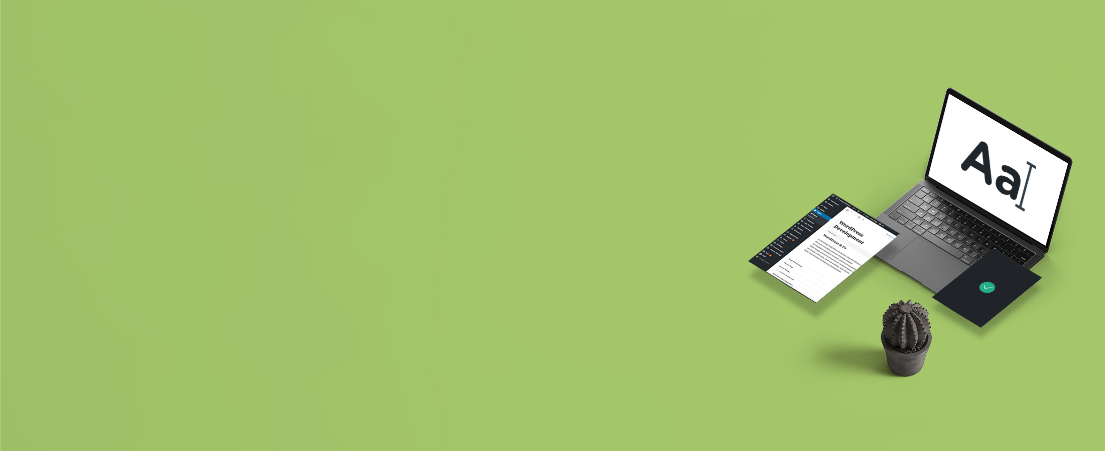 Green header with computer mockup for Content and Copywriting