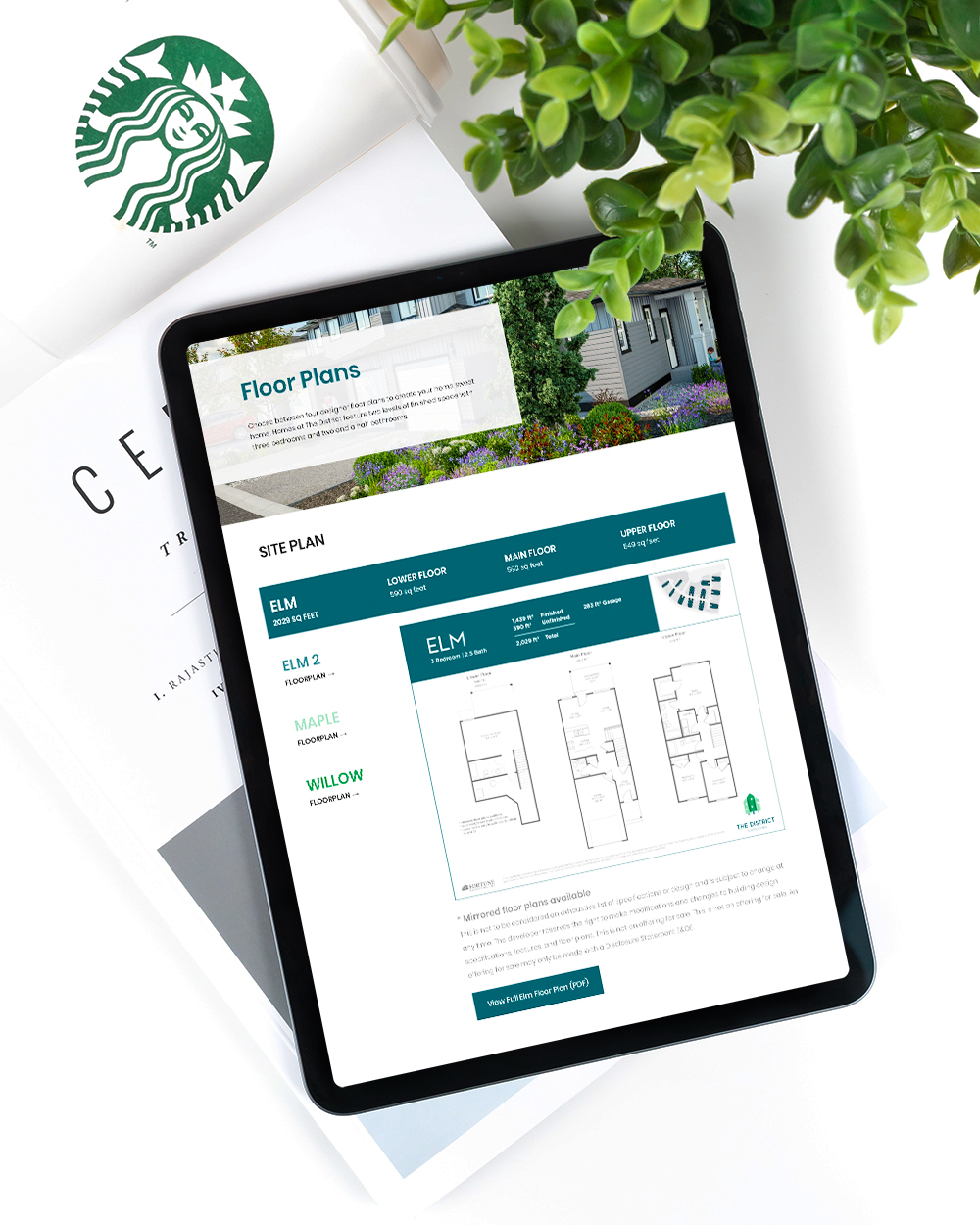 District Townhomes Floorplans Map on Tablet; highlighting our capabilities in WordPress development