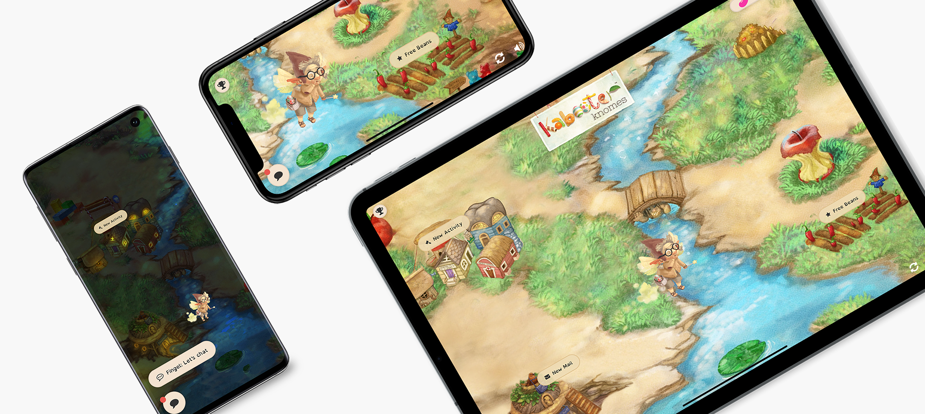 Kabooter Knomes mobile app development screen mockups of city in game