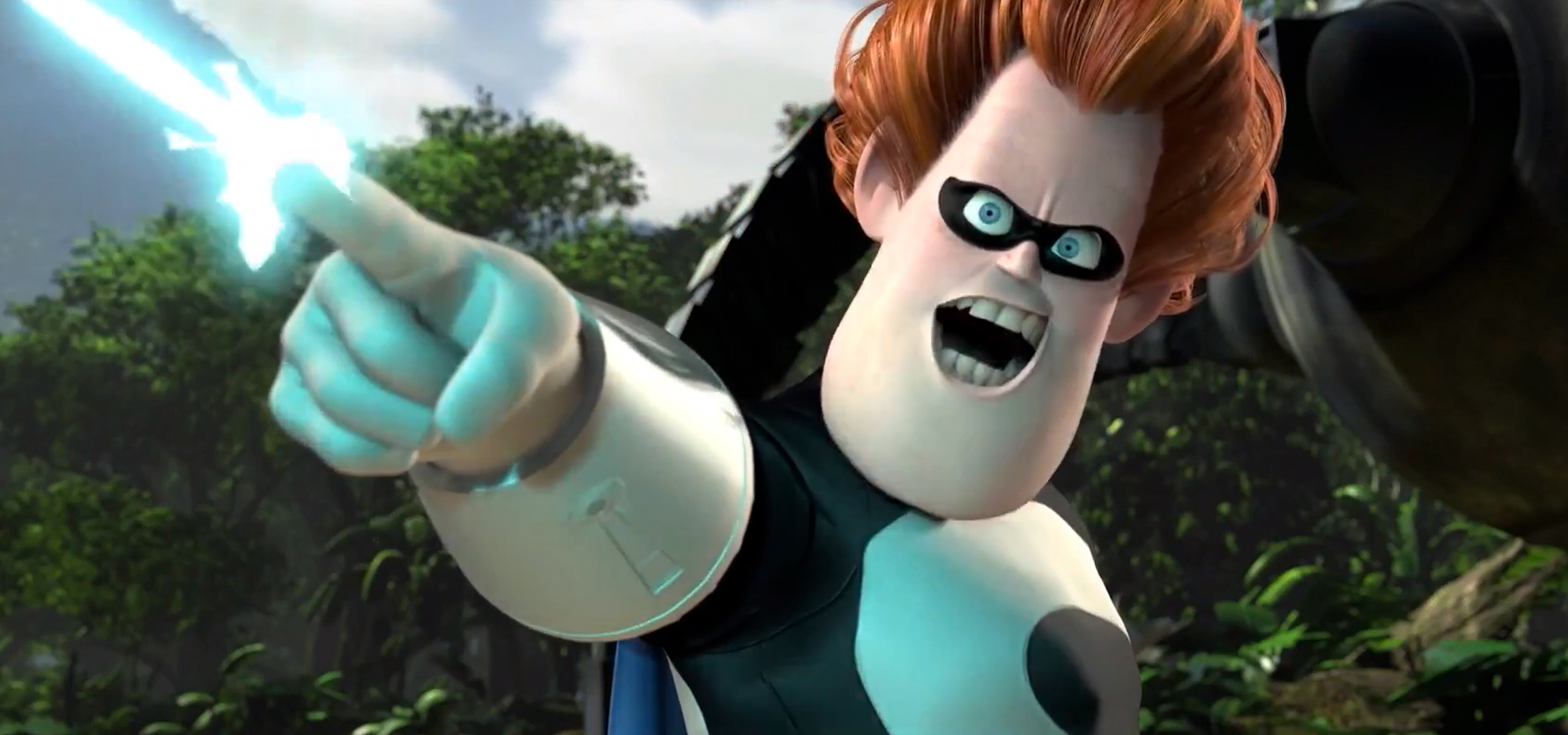 Incredibles character, Syndrome, pointing forward as a laser beam shots out of his finger.