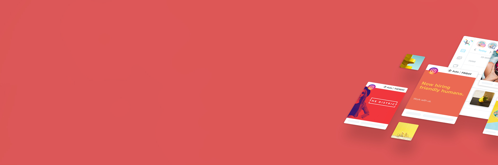 Red Background Header for Social Media Strategy, with floating social posts