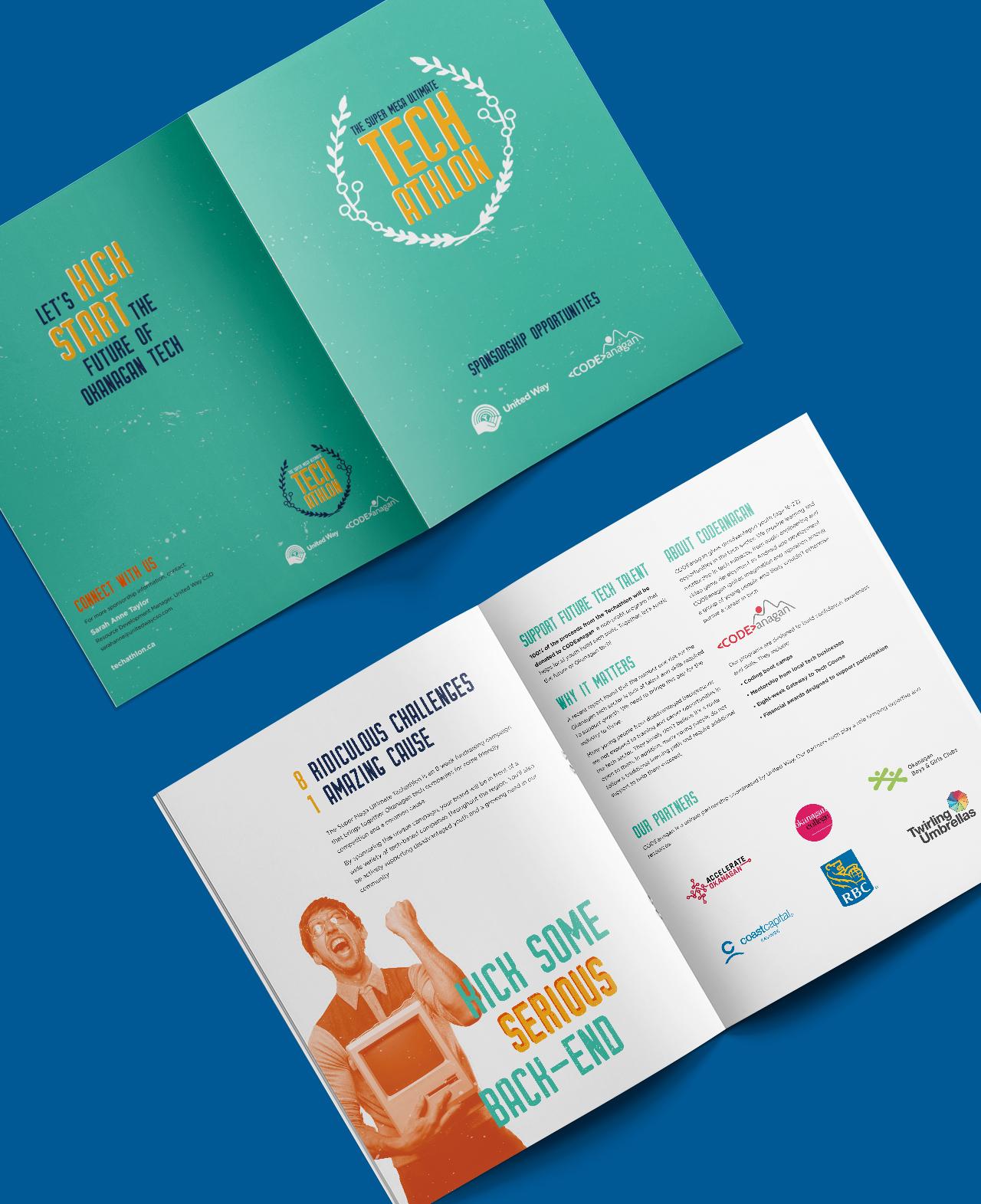 Techathlon Marketing Strategy advertisement spreads on blue background
