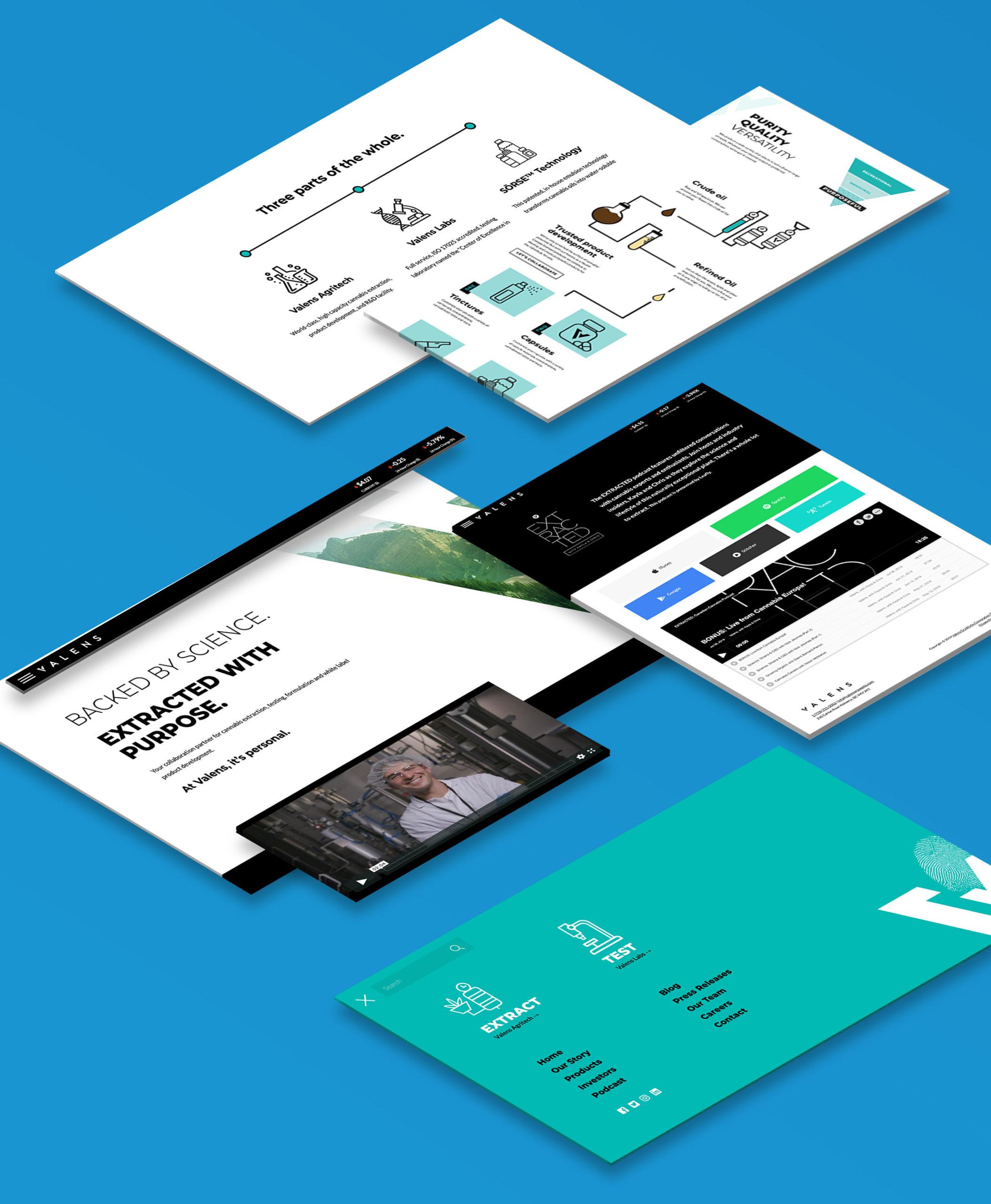 Valens Web Design Mockup of screenshots on a light blue background