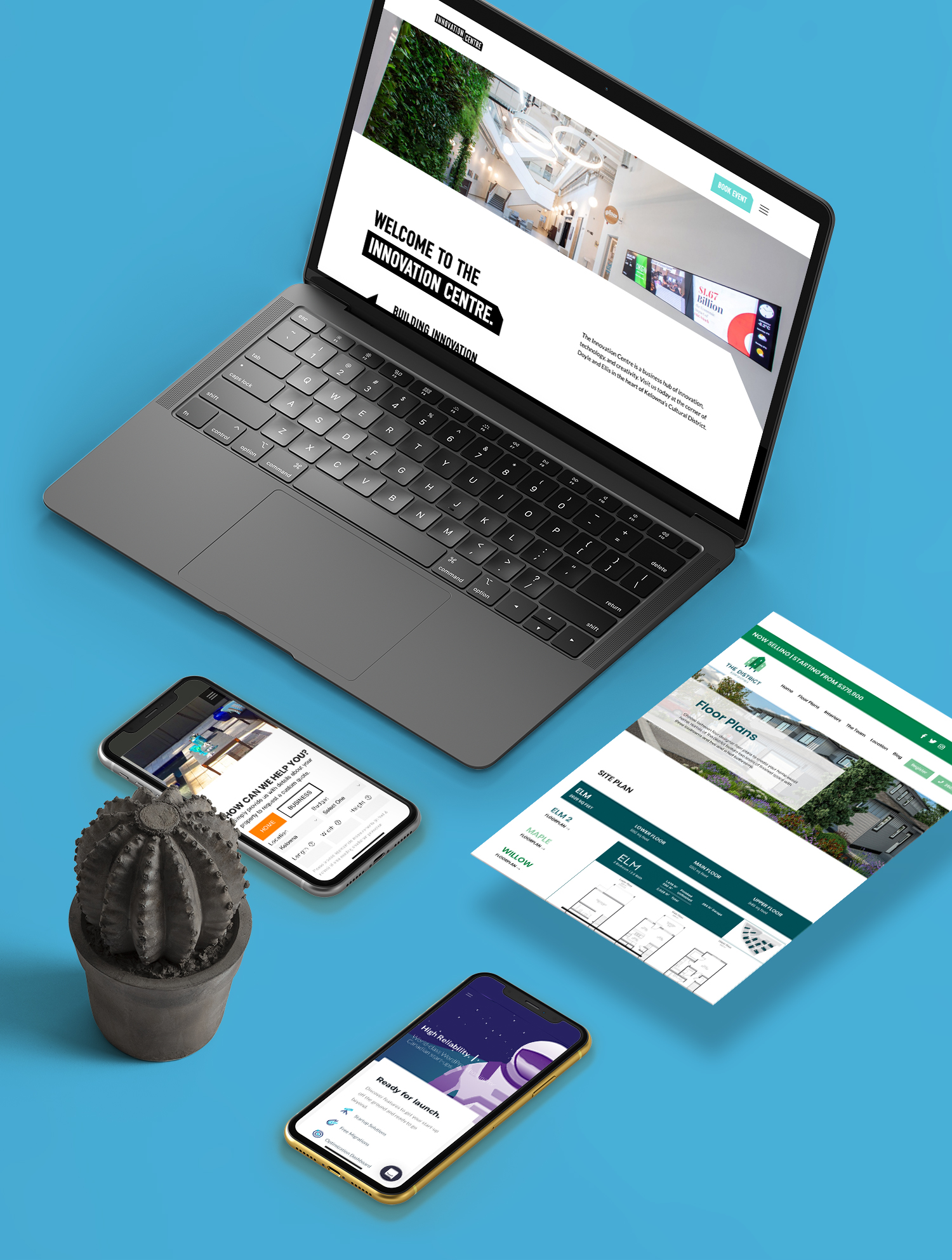 WordPress development mockups of various websites designed by Twirling Umbrellas