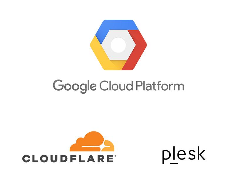 Wordpress Hosting Logos - Google Cloud Platform, Cloudflare and Plesk
